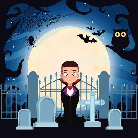 halloween dark scene with boy disguise of dracula vector illustration design