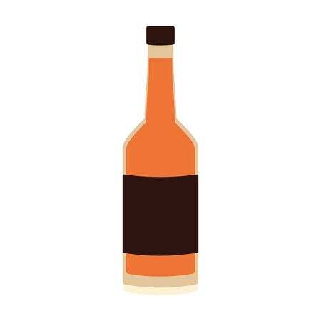 beer bottle icon over white background, vector illustration