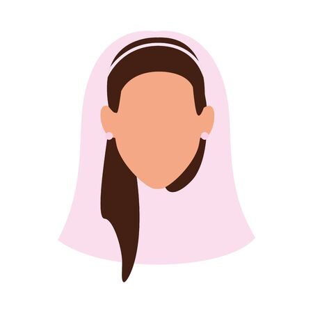 woman in bridal veil icon over white background, vector illustration Ilustração