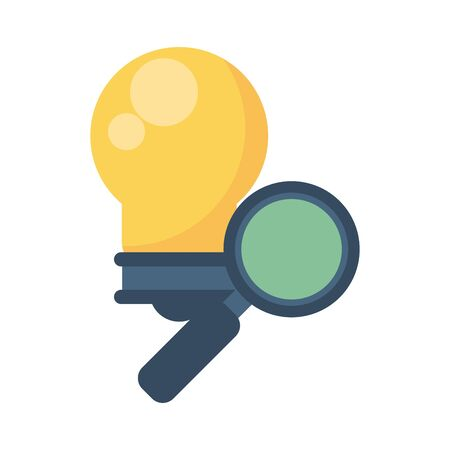 bulb light with magnifying glass vector illustration design