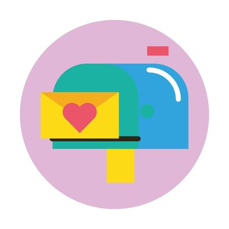 happy valentines day envelope with heart in mailbox vector illustration design