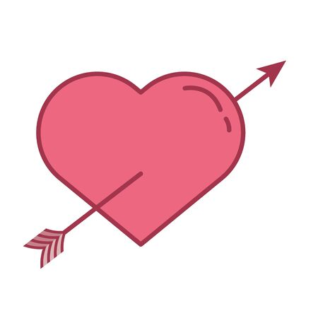 happy valentines day heart with arrow crossed vector illustration design Illustration