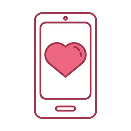 happy valentines day smartphone with hearts chat vector illustration design Illustration