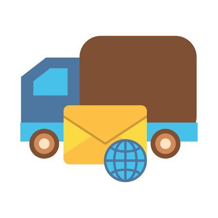 truck cart with envelope mail postal service vector illustration design Ilustração