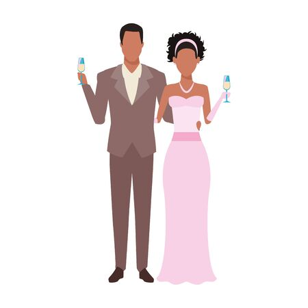 avatar elegant afro groom and bride icon over white background, vector illustration Ilustração