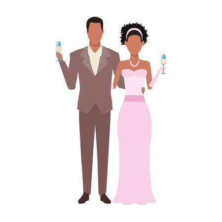 avatar elegante afro bruidegom en bruid pictogram op witte achtergrond, vectorillustratie Vector Illustratie