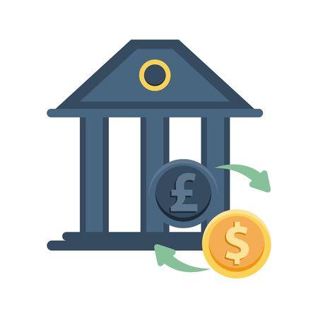 dollar and sterling pound coins icons vector illustration design Ilustração