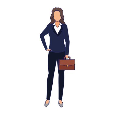 businesswoman with briefcase icon over white background, vector illustration