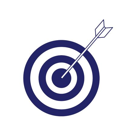 arrow hits the target, target icon over white background, flat design, vector illustration