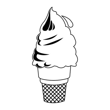 soft serve ice cream icon over white background, flat design, vector illustration