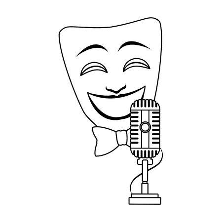 Maschera teatrale con icona del microfono retrò su sfondo bianco, design piatto, illustrazione vettoriale