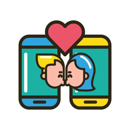 happy valentines day smartphone with lovers couple vector illustration design