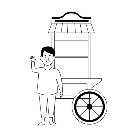 happy boy waving and pop corn cart icon over white background, vector illustration