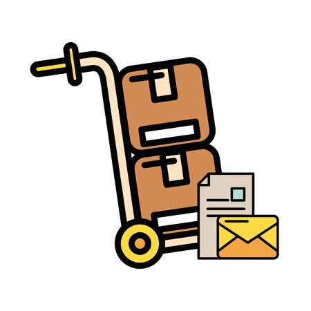 cart with box carton postal service vector illustration design