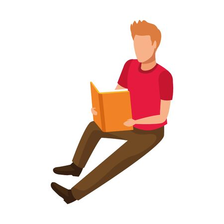 avatar man reading a book icon over white background, vector illustration