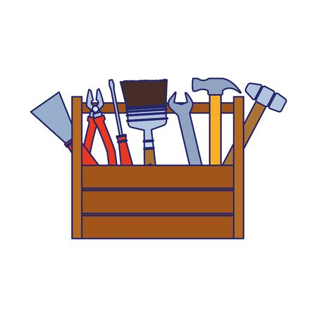 wooden box with repair tools over white background, vector illustration