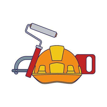 safety helmet with roller paint and hand saw over white background, colorful design, vector illustration Ilustração