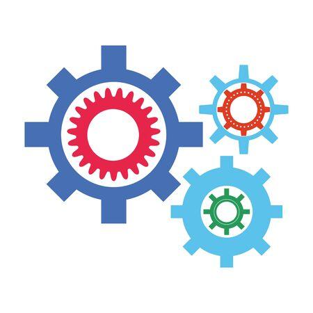 gear wheels icon over white background, colorful design, vector illustration Ilustração