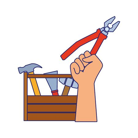 wooden box with tools and hand holding a pliers over white background, vector illustration