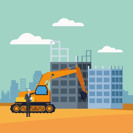 excavator and engineer over under construction scenery, colorful design, vector illustration