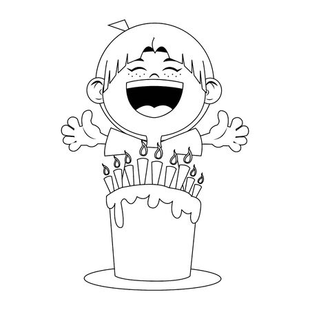 happy boy with birthday cake with candles over white background, flat design, vector illustration
