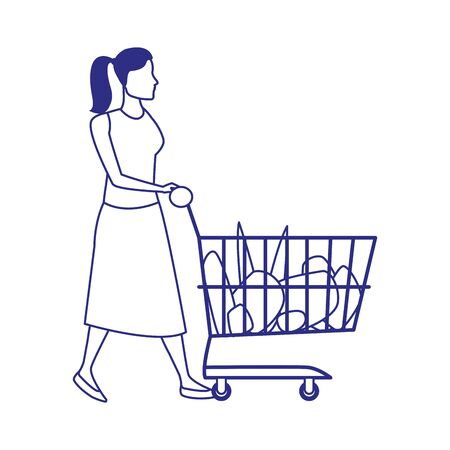 avatar woman with supermarket cart with groceries over white background, vector illustration 일러스트