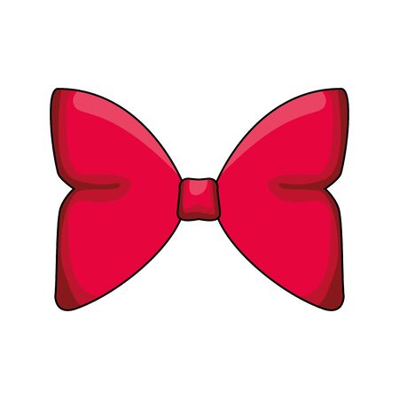 decorative red bow icon over white background, vector illustration Ilustração