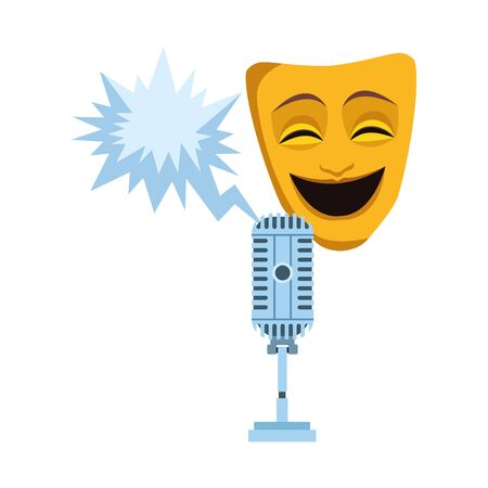 comedy theater mask with retro microphone icon over white background, vector illustration