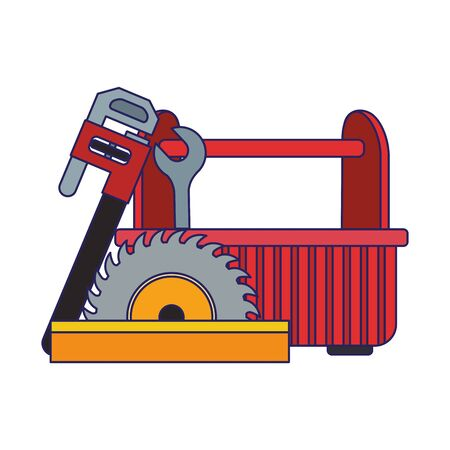 tools box with saw and piper wrench over white background, vector illustration