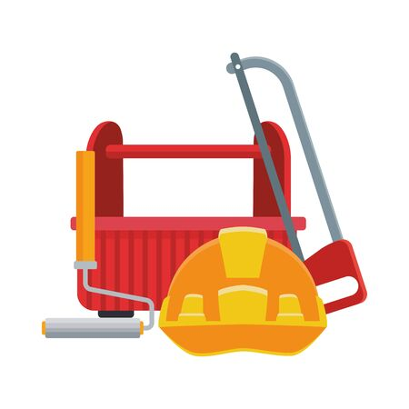 hand saw and paint roller with tools box over white background, vector illustration
