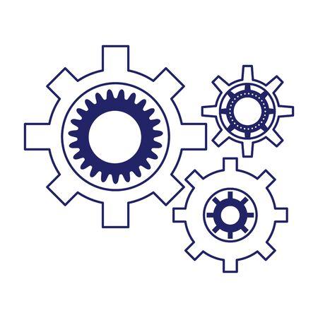 gear wheels icon over white background, flat design, vector illustration Ilustração