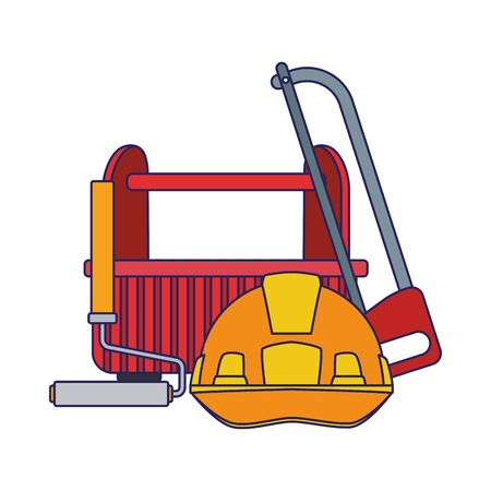 hand saw and paint roller with tools box over white background, colorful design, vector illustration
