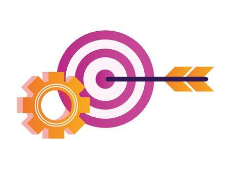 gear settings setup with target vector illustration design Ilustração