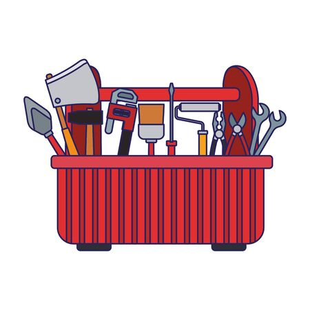 tools box with repair tools icon over white background, colorful design, vector illustration