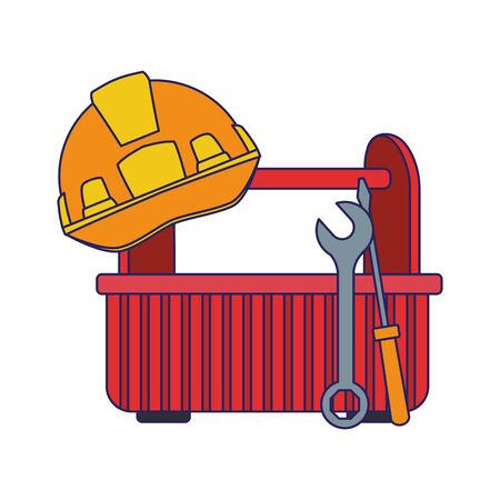 tools box and safety helmet over white background, vector illustration