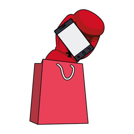 shopping bag and boxing glove with smartphone over white background, colorful design, vector illustration