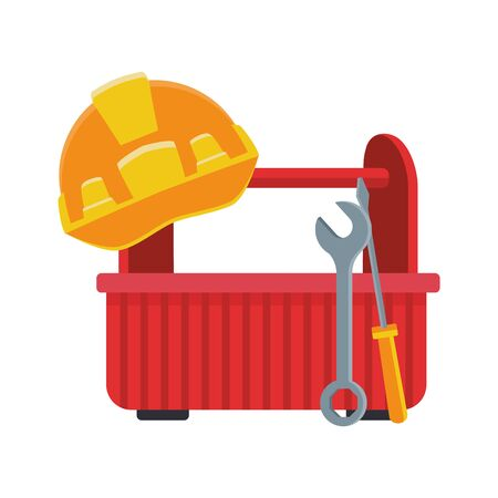 tools box and safety helmet over white background, colorful design, vector illustration