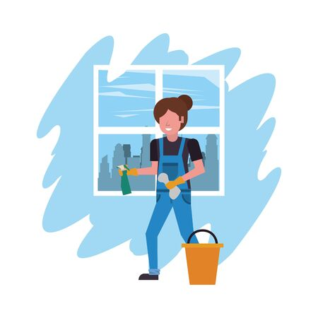 housekepping woman worker with splash bottle vector illustration design