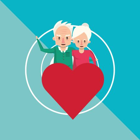 cute grandparents couple lovers with heart vector illustration design