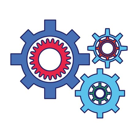 gear wheels icon over white background, vector illustration
