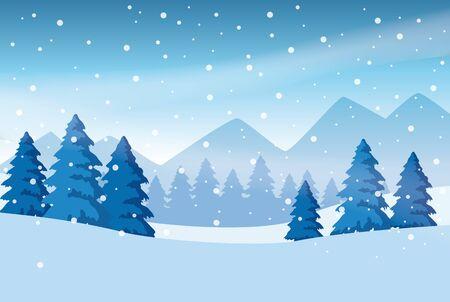 forest snowscape scene nature icon vector illustration design Ilustração