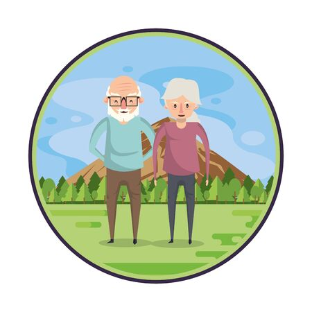 cute grandparents couple lovers in the field vector illustration design Illustration