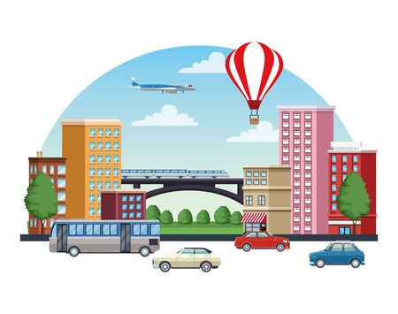 buildings cityscape with means of transport vector illustration design