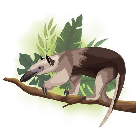 wild anteater in tree branch scene vector illustration design Vector Illustration