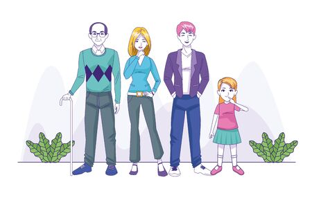 parents couple with daughter and grandfather family characters vector illustration design Archivio Fotografico - 137444228