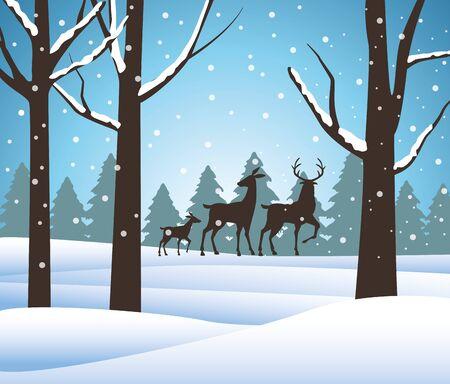 forest snowscape scene with reindeer silhouettes vector illustration design Ilustração
