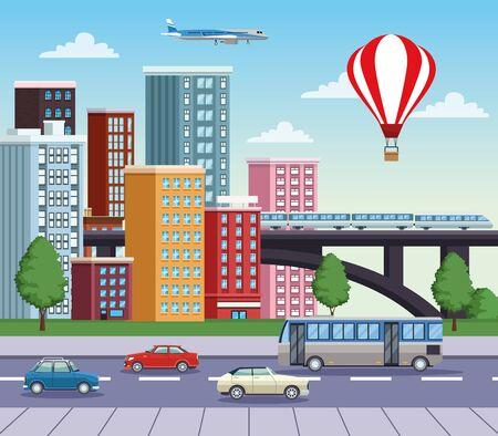 Bâtiments paysage urbain avec route et moyens de transport conception d'illustration vectorielle