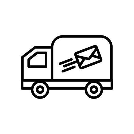 truck cart with envelope mail postal service vector illustration design Çizim
