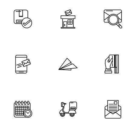 bundle of postal service icons vector illustration design