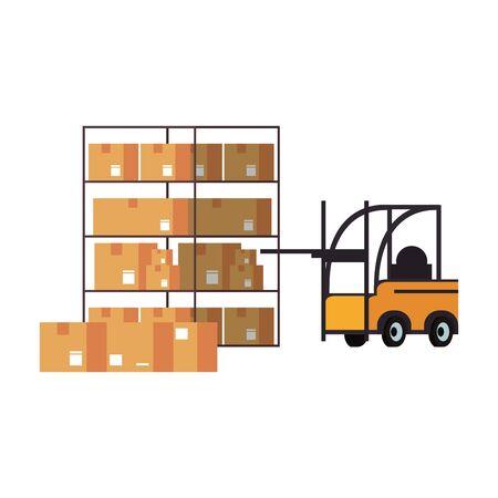 Forklift and boxes on warehouse shelf vector illustration Çizim